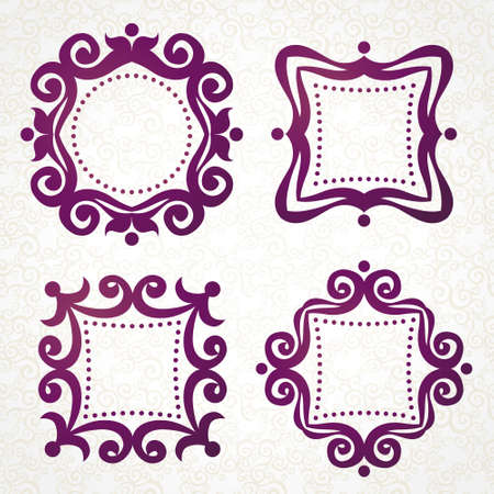 for text: Vector vintage frames in Victorian style. Ornate element for design and place for text. Ornamental lace pattern for wedding invitations and greeting cards. Traditional purple decor on light background.