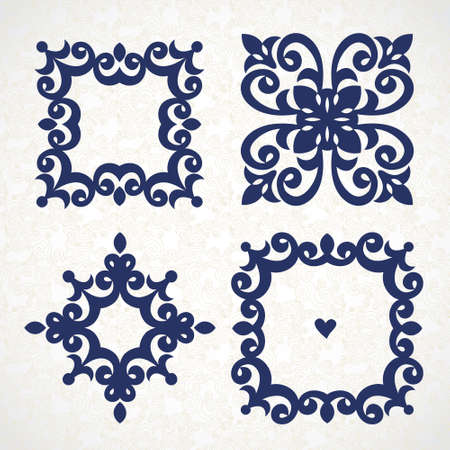 Vector vintage frames in Victorian style. Ornate element for design and place for text. Ornamental lace pattern for wedding invitations and greeting cards. Traditional romantic decor. Vektorové ilustrace