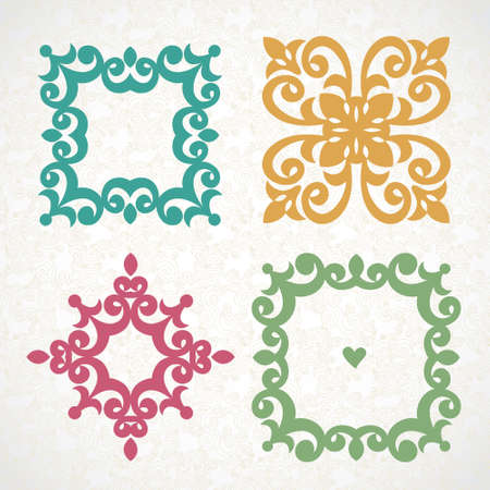 Vector vintage frames and vignettes in Victorian style. Ornate element for flat design and place for text. Ornamental lace pattern for wedding invitations and greeting cards. Traditional romantic decor.