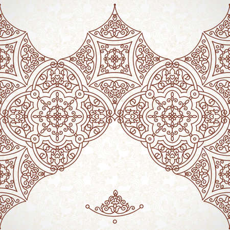 Vector vintage border in Eastern style. Ornate element for design. Ornamental floral illustration for wedding invitations and greeting cards. Traditional brown decor on scroll work background.