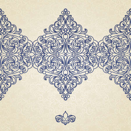 friso: Vector floral seamless border in Victorian style. Ornate element for design and place for text. Ornamental vintage pattern for wedding invitations, greeting cards. Traditional blue decor on light background.