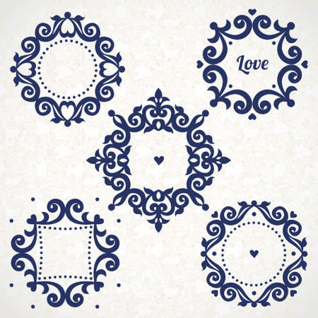 for text: Vector vintage frames in Victorian style. Ornate element for design and place for text. Ornamental lace pattern for wedding invitations and greeting cards. Traditional romantic decor.