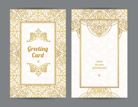 golden frame: Vintage ornate cards in Eastern style. Golden decor with floral ornaments. Template ornamental frame for greeting card and wedding invitation. Filigree vector border and place for your text. Illustration