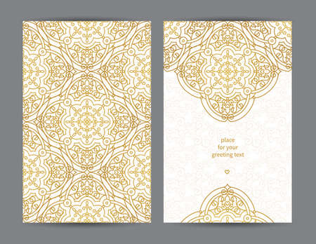 ornaments floral: Vintage ornate cards in Eastern style. Golden decor with floral ornaments. Template ornamental frame for greeting card and wedding invitation. Filigree vector border and place for your text. Illustration