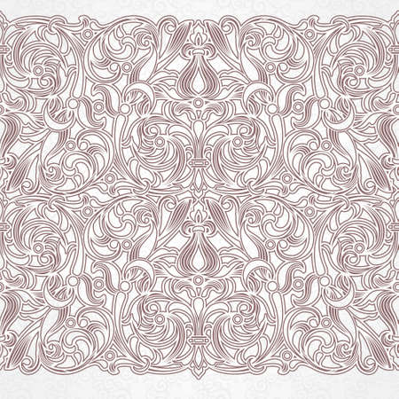 seamless floral pattern: Vector vintage border in Eastern style. Ornate element for design. Ornamental floral illustration for wedding invitations and greeting cards. Traditional grey decor on scroll work background.