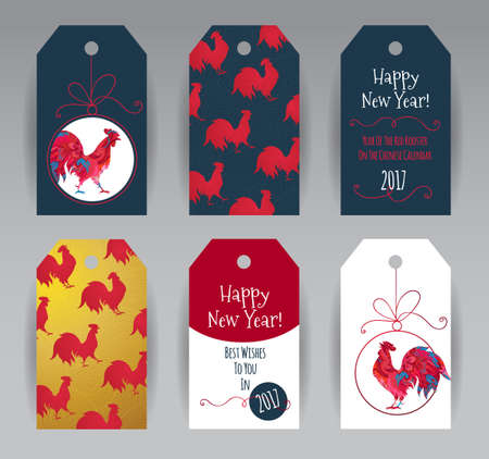 chinese new year vector: Vector vertical tags with illustration of rooster, symbol of 2017 on the Chinese calendar. Silhouette of red cock, decorated with ornate patterns. Element for New Years design. Year of Red Rooster.