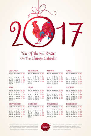 chinese calendar: Vector calendar for 2017. Illustration of Red Rooster, symbol of 2017 on the Chinese calendar. Silhouette of cock, decorated with floral patterns. Place for text. Template with week starts Monday.