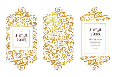 Vector set of golden frames and borders for design template. Elements in Eastern style. Ornate floral frames. Luxury decor for invitations, greeting cards, certificate, thank you message.