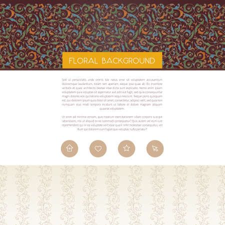 Vector web page design template in Eastern style. Ornate seamless border.Ornamental vintage element, place for text. Traditional floral decor for background, wallpaper, packing, wrapping, invitations. Illustration