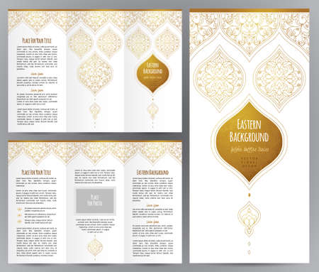 arabische letters: Ornate vintage booklet with oriental floral decor. Golden outline decoration in Eastern style. Template frame for brochure, invitation, flyer, page layouts, leaflet, poster. Vector border. Stock Illustratie