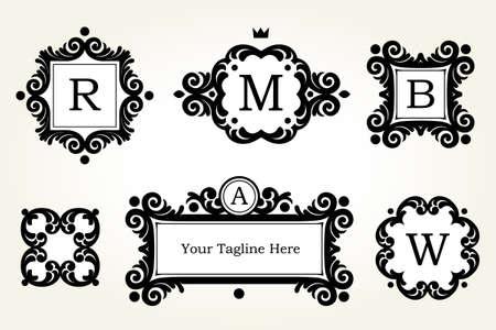 Conjunto de vectores con marcos de color negro y viñetas. adornado elemento para el diseño. Lugar para la empresa. la decoración floral ornamento de la tarjeta de negocios, invitaciones de boda, certificado, plantilla, monograma, gracias mensaje. Ilustración de vector