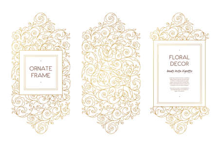 scrollwork: Vector set of line art frames and borders for design template. Element in Eastern style. Golden outline floral frames. Mono line decor for invitations, greeting cards, certificate, thank you message. Illustration