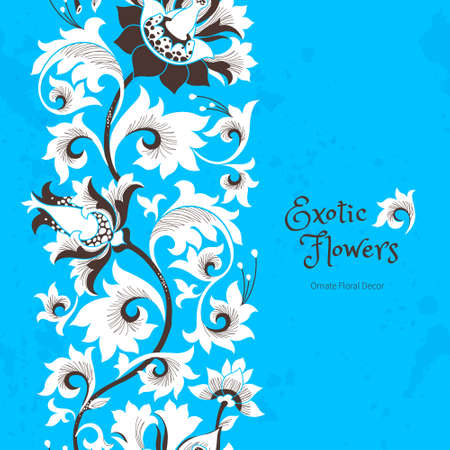 flores chinas: Seamless border with fantastic exotic flowers in Chinese style. Luxury ornament. Floral illustration. Ornate graphic art. Beautiful vector element, vignettes for design template.