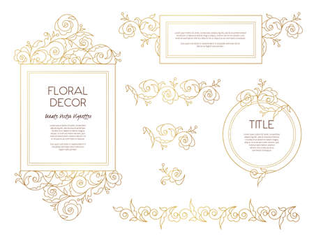 scrollwork: Vector set golden frames and vignette for design template. Vintage element in Eastern style. Outline floral illustration. Ornate decor for invitation, birthday and greeting card, labels, thank you message.