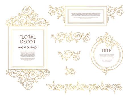 victorian frame: Vector set golden frames and vignette for design template. Vintage element in Eastern style. Outline floral illustration. Ornate decor for invitation, birthday and greeting card, labels, thank you message.