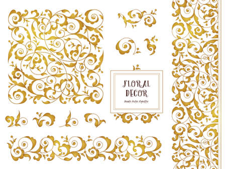 scrollwork: Vector set of ornate frames, borders, vignettes for design template. Elements in Eastern style. Golden floral ornaments. Luxury decor for invitations, greeting cards, thank you message.