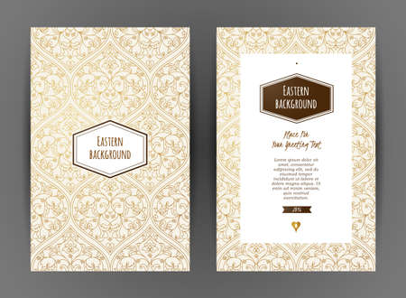 wedding decor: Ornate vintage cards. Outline floral decor in Eastern style. Template frame for save the date, birthday, greeting card, wedding invitation, leaflet, poster. Golden vector border with place for text. Illustration