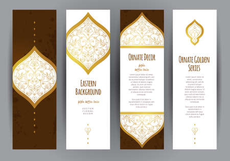vector set: Vector set of ornate vertical cards in oriental style. Eastern floral decor. Template vintage frame for greeting card and wedding invitation. Golden labels and tags with place for text. Illustration