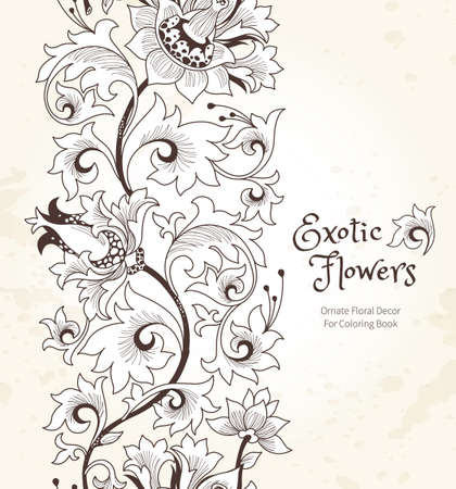 Inconsútil De La Frontera Con Flores Exóticas Fantásticos En Estilo ...