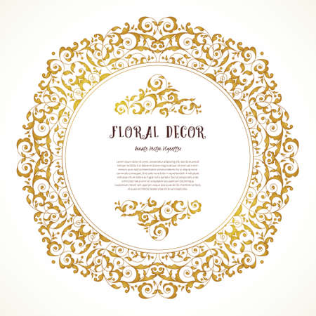 Vector vintage frame, vignettes in Eastern style. Ornate floral element for design. Ornamental illustration for invitation, birthday and greeting cards, wallpaper. Place for text. Golden round decor.