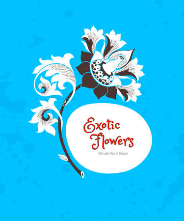 vector art: Vector frame with fantastic exotic flowers in Chinese style. Luxury ornament. Bright blue floral illustration. Ornate graphic art. Botanical element, vignettes for design template, place for text.