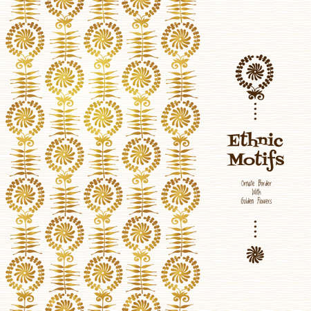 golden frames: Vector golden seamless border for design template. Pattern in ethnic style. Luxury floral frames with place for text. Ornate decor for wallpaper. Endless texture. Illustration