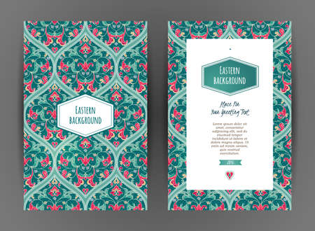 floral vintage: Ornate vintage cards. Bright floral decor in Eastern style. Template frame for save the date, birthday, greeting card, wedding invitation, certificate, leaflet, poster. Vector border with place for text.