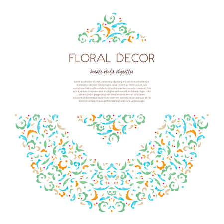 Vector vintage frame, vignette in Eastern style. Ornate floral element for design. Floral illustration. Pastel spotted decor. Bright leaves and petals with place for text.