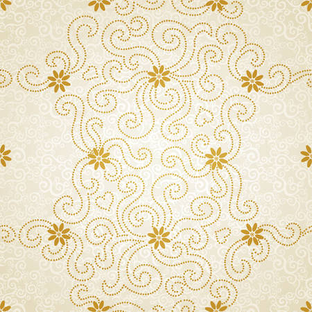 golden daisy: Ornamental seamless pattern with small flowers and curls. Light floral background.  It can be used for wallpaper, pattern fills, web page background, surface textures. Illustration