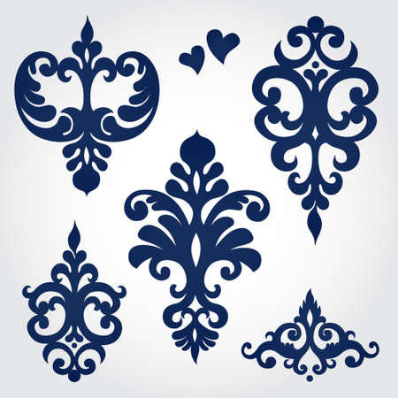 scroll design: Vector set with baroque ornaments in Victorian style. Ornate element for design. It can be used for decorating of wedding invitations, greeting cards, decoration for bags and clothes. Illustration