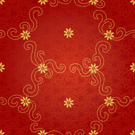 golden daisy: Ornamental seamless pattern with small flowers and curls. Red floral endless background. It can be used for wallpaper, pattern fills, web page background, surface textures.