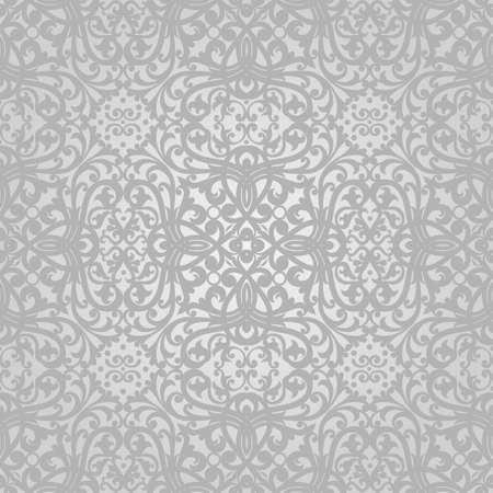 victorian wallpaper: Vector seamless pattern with swirls and floral motifs in retro style. Grey Victorian background. It can be used for wallpaper, pattern fills, web page background, surface textures. Illustration