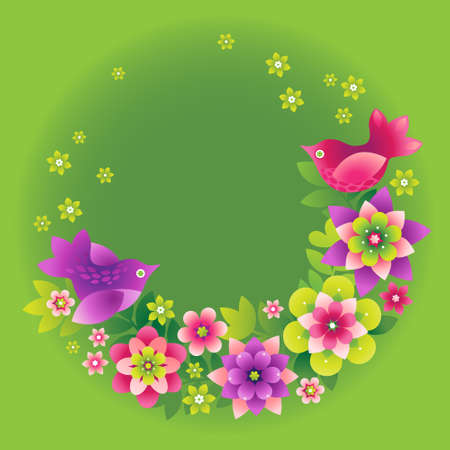 daisies: Fine summer bouquet with birds. It can be used for decorating of invitations, greeting cards and decoration for bags. You can place your text in the empty frame.