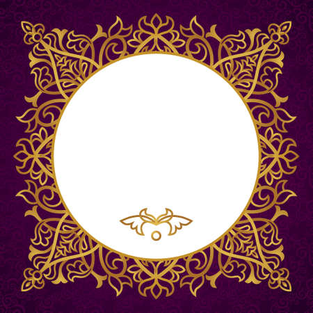 delicate arabic motif: Vintage ornate frame with place for your text. Dark Victorian background. Template frame design for greeting card and wedding invitations, decoration for bags and clothes.