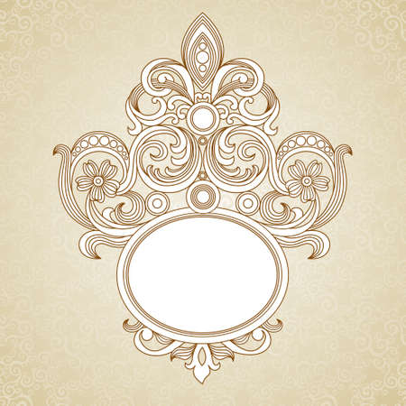 delicate arabic motif: Vintage ornate frame with place for your text. Light Victorian background. Template frame design for greeting card and wedding invitations, decoration for bags and clothes. Illustration