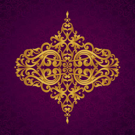 purple and gold: Vector baroque ornament in Victorian style. Ornate element for design. Toolkit for designer. It can be used for decorating of wedding invitations, greeting cards, decoration for bags and clothes. Illustration
