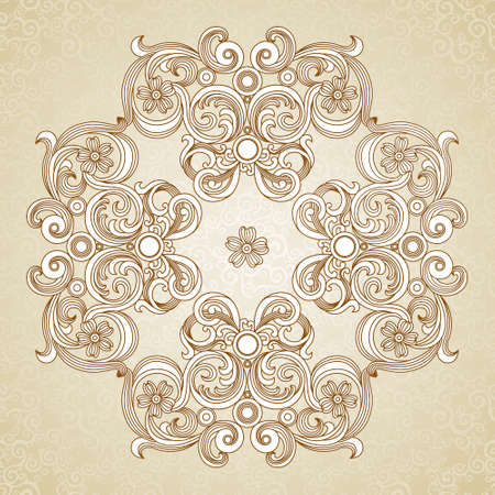 Abstract vector ornament in Victorian style. Lace pattern design. Contour ornament on scroll background. It can be used for decorating of wedding invitations, greeting cards, decoration for bags and clothes. Illustration