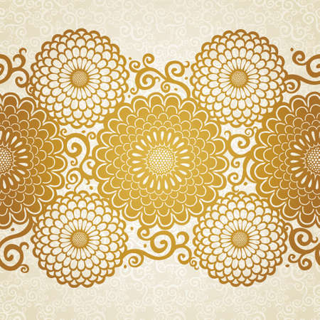 Golden seamless border with large flowers and curls. Light floral background. It can be used for wallpaper, pattern fills, web page background, surface textures, decorating of invitations, cards.