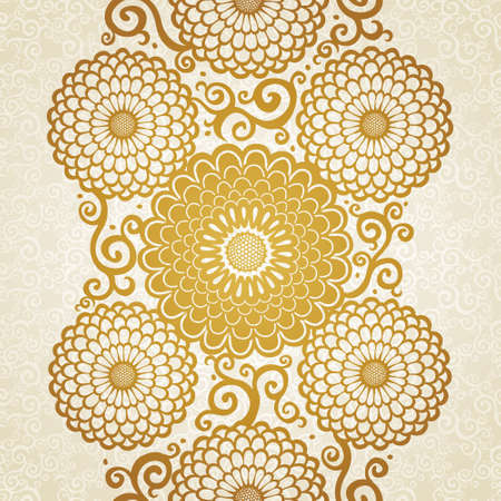 Golden seamless border with large flowers and curls. Light floral background. It can be used for wallpaper, pattern fills, web page background, surface textures, decorating of invitations, cards. Illustration