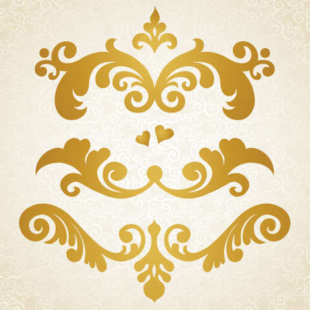 Vector set of scrolls and vignettes in Victorian style. Element for design. It can be used for decorating of wedding invitations, greeting cards, decoration for bags and at tattoo creation. Illustration