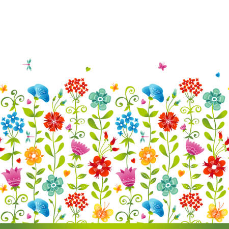 butterfly background: Bright floral seamless border with butterfly, dragonfly and hearts on white background.
