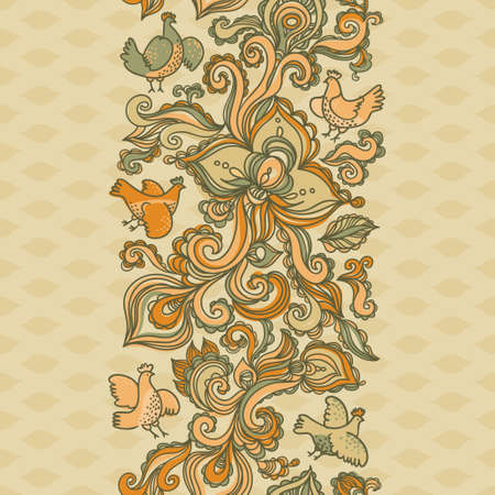 floral swirls: Outline floral seamless border with flowers, birds, leaves and swirls.