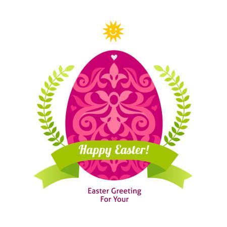 Floral ornamental egg for spring design. Bright element for Happy Easter greeting. Hipster label. Traditional vintage decor for invitations, cards, print, web. Illustration for Holidays template. Illustration