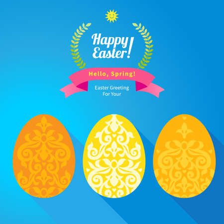happy web: Floral ornamental eggs for spring design. Bright element for Happy Easter greeting. Hipster label. Traditional vintage decor for invitations, cards, print, web. Illustration for Holidays template. Illustration