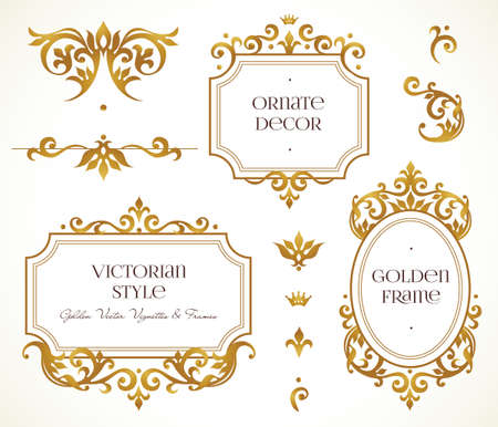 Vector set frames and vignette for design template. Elements in Victorian style. Golden floral borders. Ornate decor for invitations, greeting cards, certificate, thank you message. 矢量图像