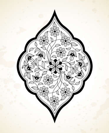 Vector line art decor, ornate vignette for design template. Eastern style element. Black outline floral decor. Mono line illustration for invitations, cards, coloring book, thank you message. Illustration
