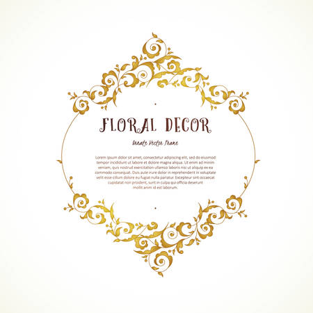 Vector vintage frame, vignettes in Eastern style. Ornate floral element for design. Ornamental illustration for invitation, birthday and greeting cards, thank you message. Place for text. Golden luxury decor.