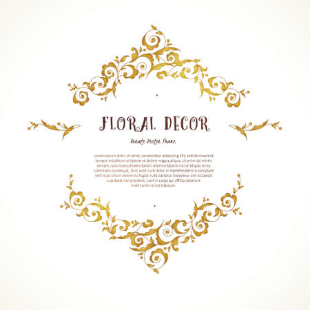 Vector set of ornate frame, border, vignette for design template. Elements in Eastern style. Golden floral ornaments. Luxury decor for invitations, greeting cards, thank you message.