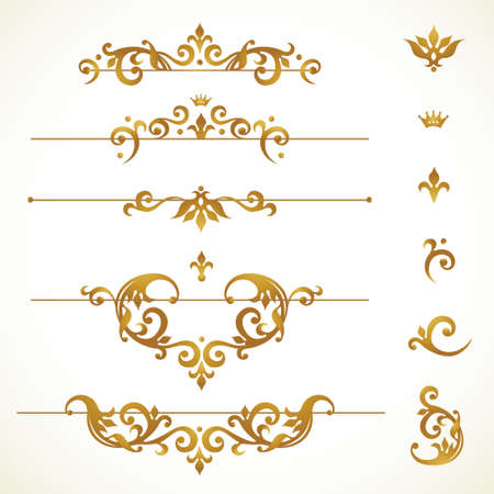 Vector set vignettes, frames, scroll elements for design template. Golden floral borders in Victorian style. Ornate decor for invitation, greeting card, label, badge.