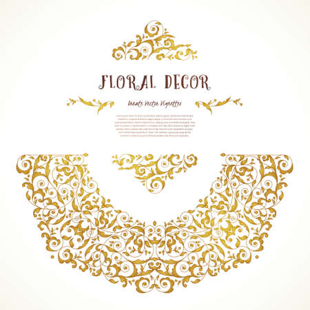 scrollwork: Vector set of ornate frame, border, vignette for design template. Elements in Eastern style. Golden floral ornaments. Luxury decor for invitations, greeting cards, thank you message.